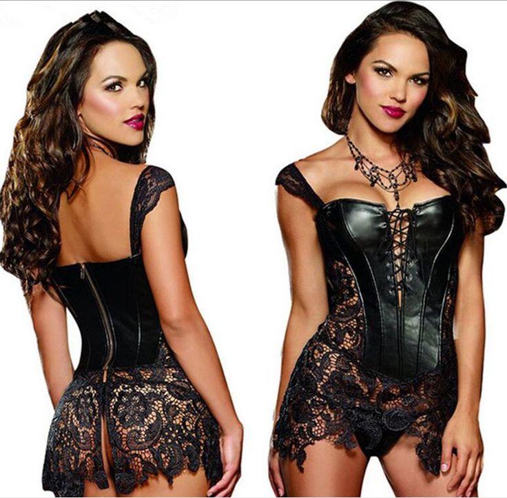 S-6XLPlus Size Sexy Lingerie Women Black Faux Leather&Lace Burlesque Steampunk Corset Dress Waist Gothic Bustier Corset