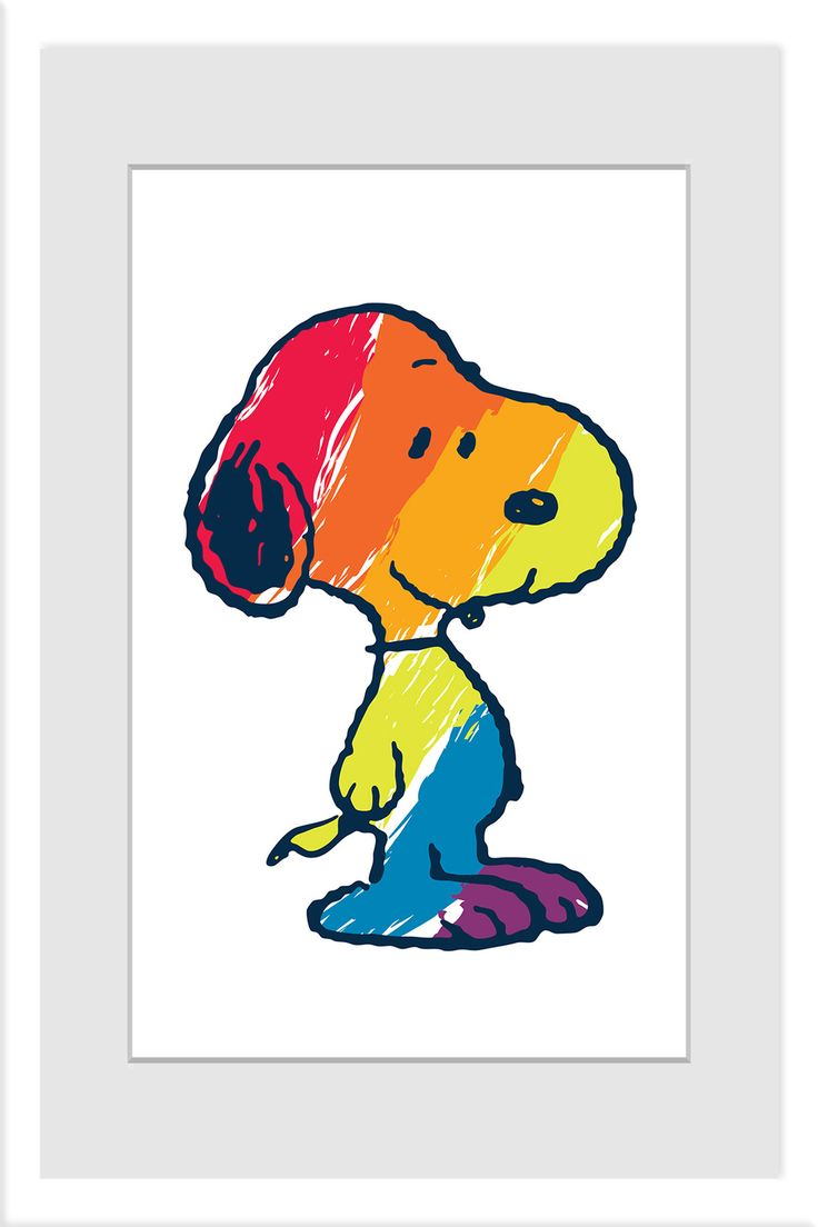Description: This iconic image of Snoopy is filled in with rainbow stripes in…