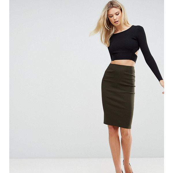 ASOS TALL High Waisted Pencil Skirt ($29) ❤ liked on Polyvore featuring skirts, green, green high waisted skirt, high waisted bodycon skirt, zipper skirt, pencil skirts and asos