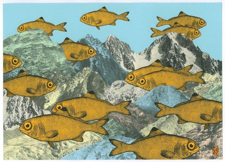 """""""Gold-Fische"""", Collage von Klaus A. Becker, 2017"""