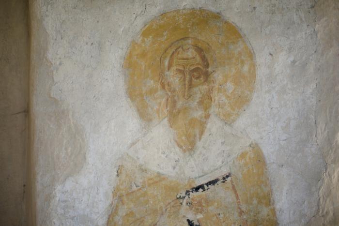 Фрагмент фрески в лестничной башне Георгиевского собора Юрьева монастыря