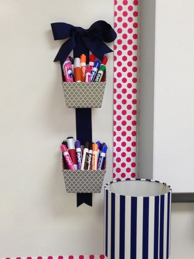 Free up counter space with a simple wall hanging that can hold markers, pencils or other vertical supplies.