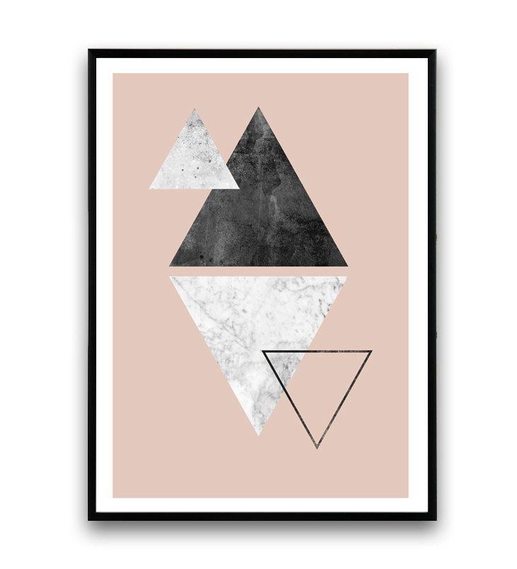 Triangle imprimé marbre sticker imprimé rose design par Wallzilla