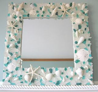 "COOL CRAFT, ""Seashell Mirror/Picture Frame"" something to do with our shells from our honeymoon"