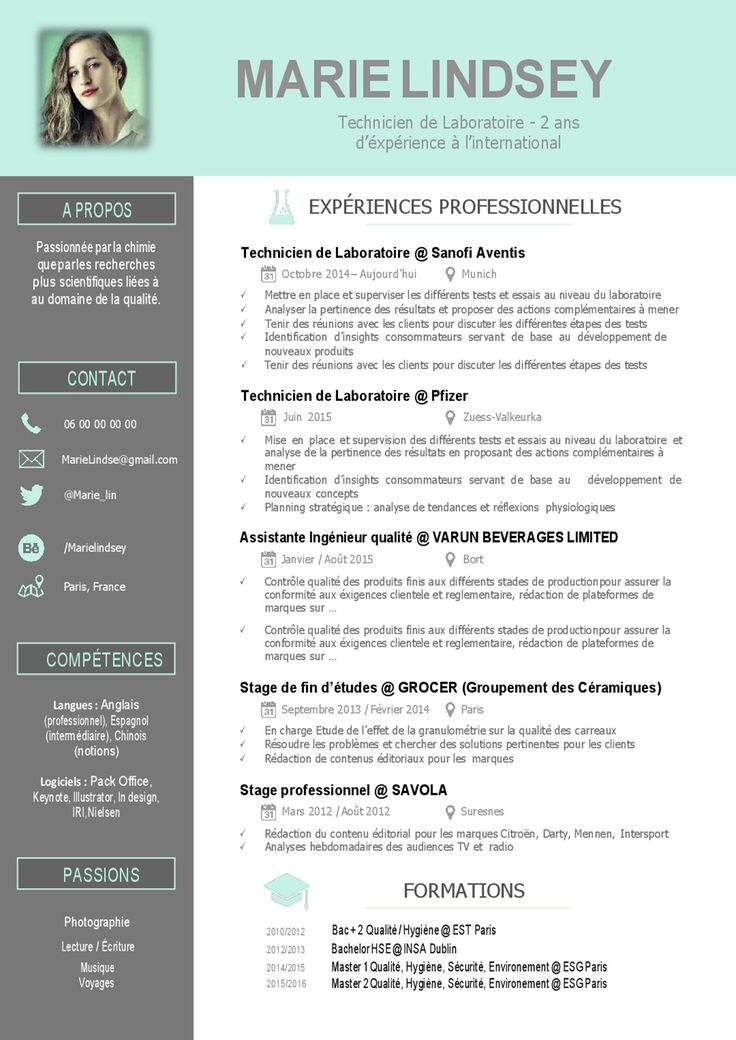 exemple de cv technicien laboratoire