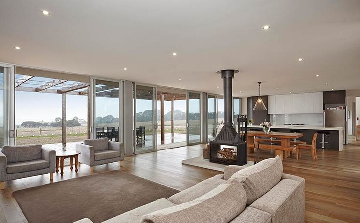 Our Geelong project- love these sliding doors captures the view and natural light.