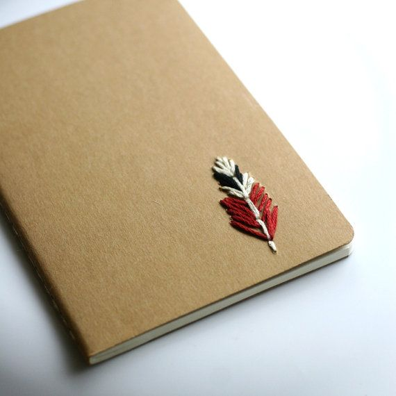 Feather- hand embroidered moleskine pocket notebook