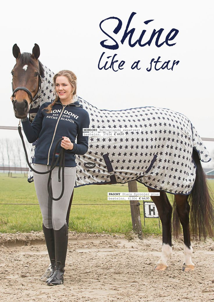 Shine like a star! met dit mooie #Mondoni Netherlands #sweatvest en de #pagony flycooler plus #deken. Shop de look op www.divoza.com #horseworld #paard #ruiterartikelen #divoza