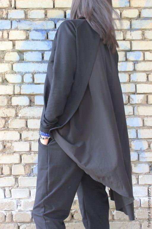 Купить Свободная туника с падающая ткань на спине B0040 - черный, спортивный свитер, туника