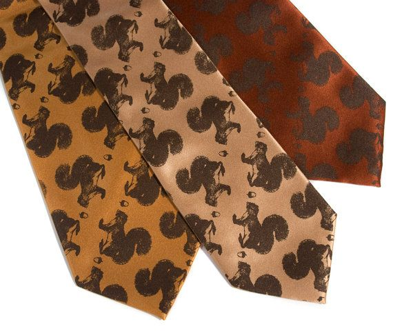 Secret Squirrel tie. Men's necktie. Chocolate brown by Cyberoptix