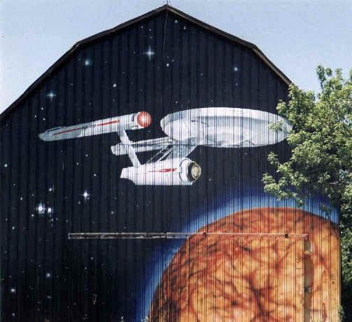 Image detail for -The Enterprise Starship in a mural on the front of a barn somewhere.