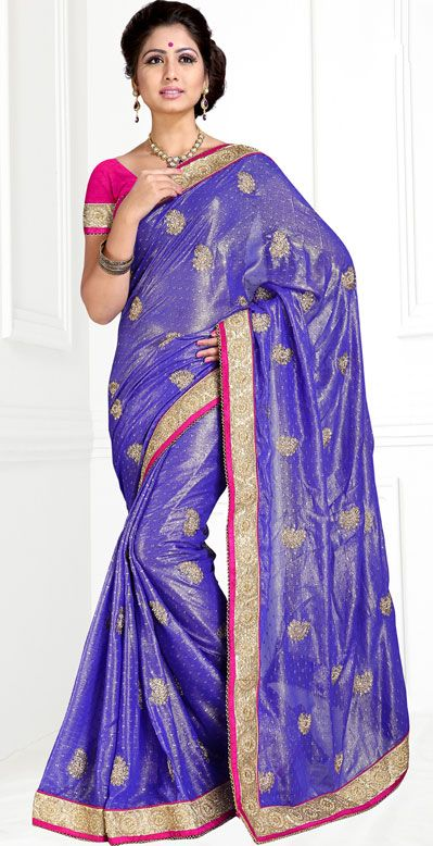 USD 52.55 Purple Chiffon Viscose Butti Party Wear Saree 42869