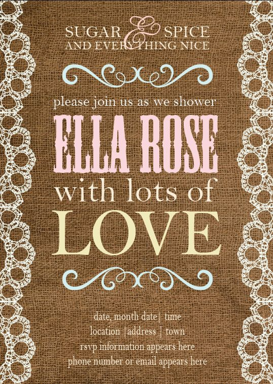 country themed baby shower invitation girl country burlap lace