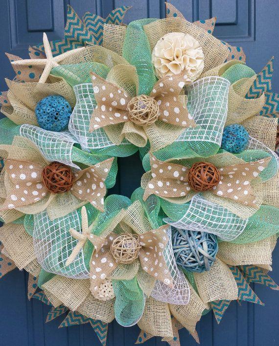Beach/Summer deco mesh wreath by WonderfulWreathsKim on Etsy, $90.00