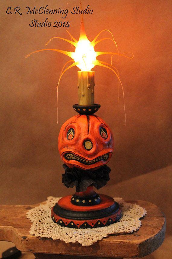 folk art pumpkin head accent light