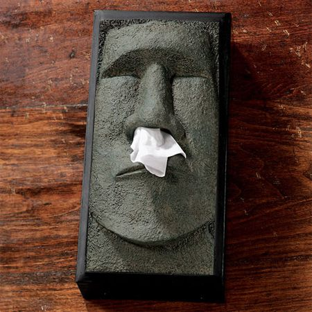 Stone Statue Tissue Box Cover  Tissue box cover inspired by the giant stone statues on Easter Island.