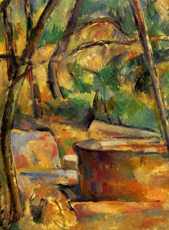 Paul Cézanne - La Meule et citerne en sous-bois, 1892-94. Oil on canvas ... BTW, check out some cool art here http://jeremy-aiyadurai.pixels.com/