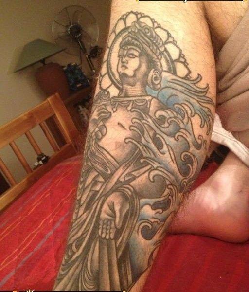 Religious, calf tattoo on TattooChief.com
