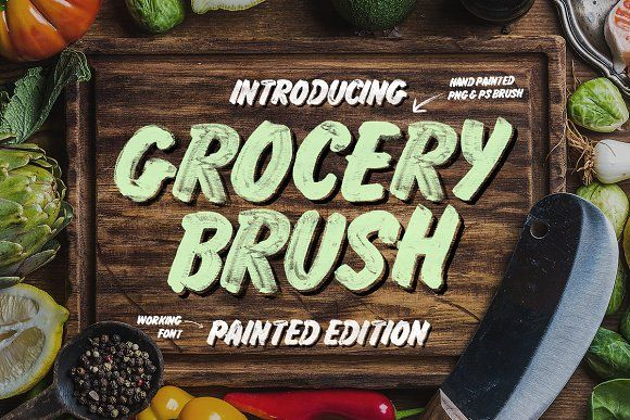 Grocery Brush & Hand (PLUS Extras) by Tom Chalky on @creativemarket