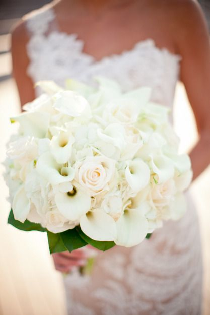 White callas and a faint blush pink rose ~ beautiful bouquet! Floral