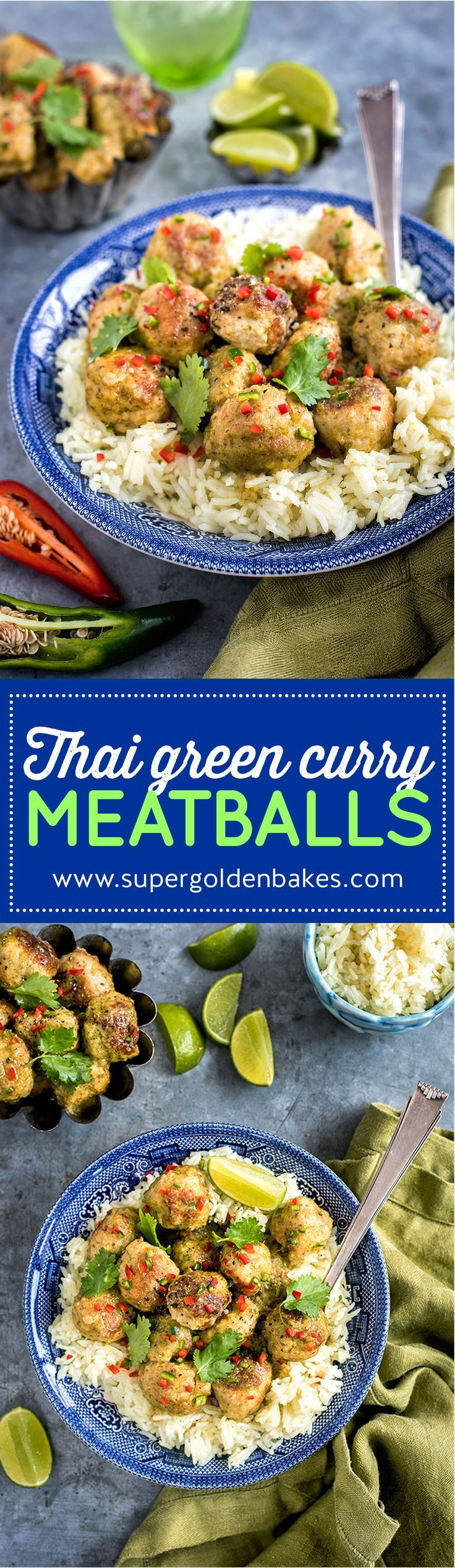 Thai green curry chicken meatballs with homemade thai green curry paste. Quick and totally delicious | Supergolden Bakes