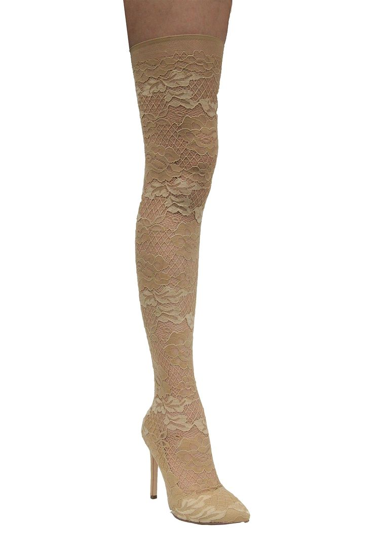 Keira Stretch Lace Thigh High Boot