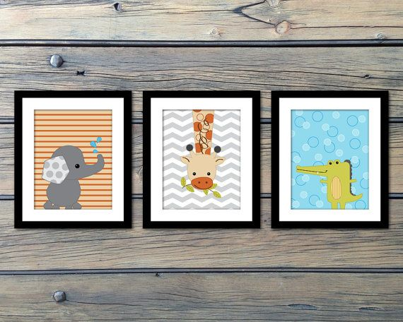 Yoo Hoo Animals Nursery Art Decor Baby Prints Set Of 3 Choose Your Size Giraffe Elephant Crocodile