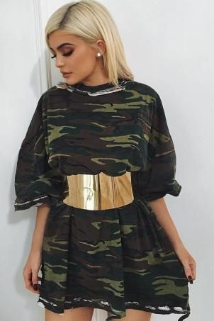 Kylie Jenner wearing Balmain Gold-Tone Metal Belt and V2bentley One of One Camo T Dress