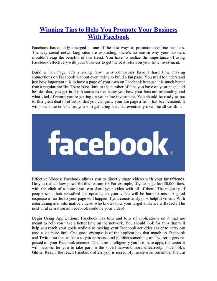winning-tips-to-help-you-promote-your-business-with-facebook by Yorkie Au via Slideshare