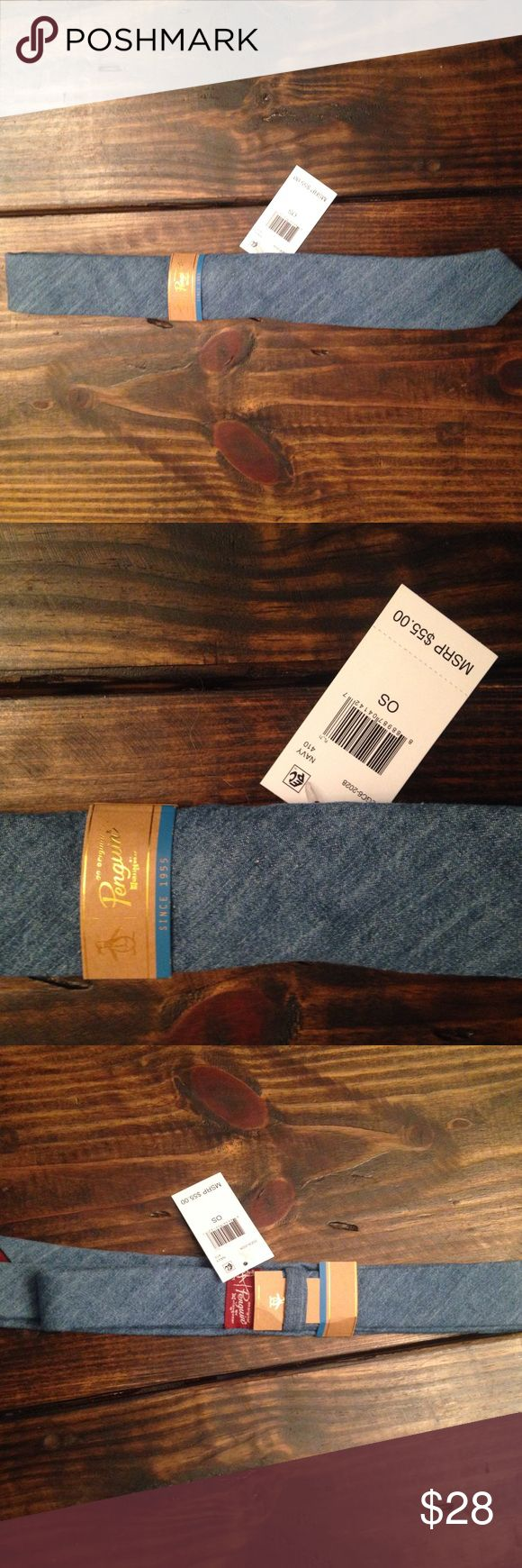 NWT new men's skinny blue chambray necktie penguin Penguin brand new with tags skinny neck tie. Original Penguin Accessories Ties