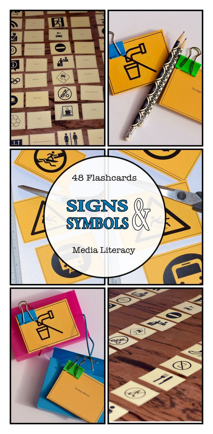 Learn media literacy skills with this fun, interactive SIGNS & SYMBOLS flashcard game for primary and middle school students. An informative Media Arts activity and a reusable SIGNS & SYMBOLS teaching resource. Available at: https://www.teacherspayteachers.com/Store/Media-And-English-Literacy