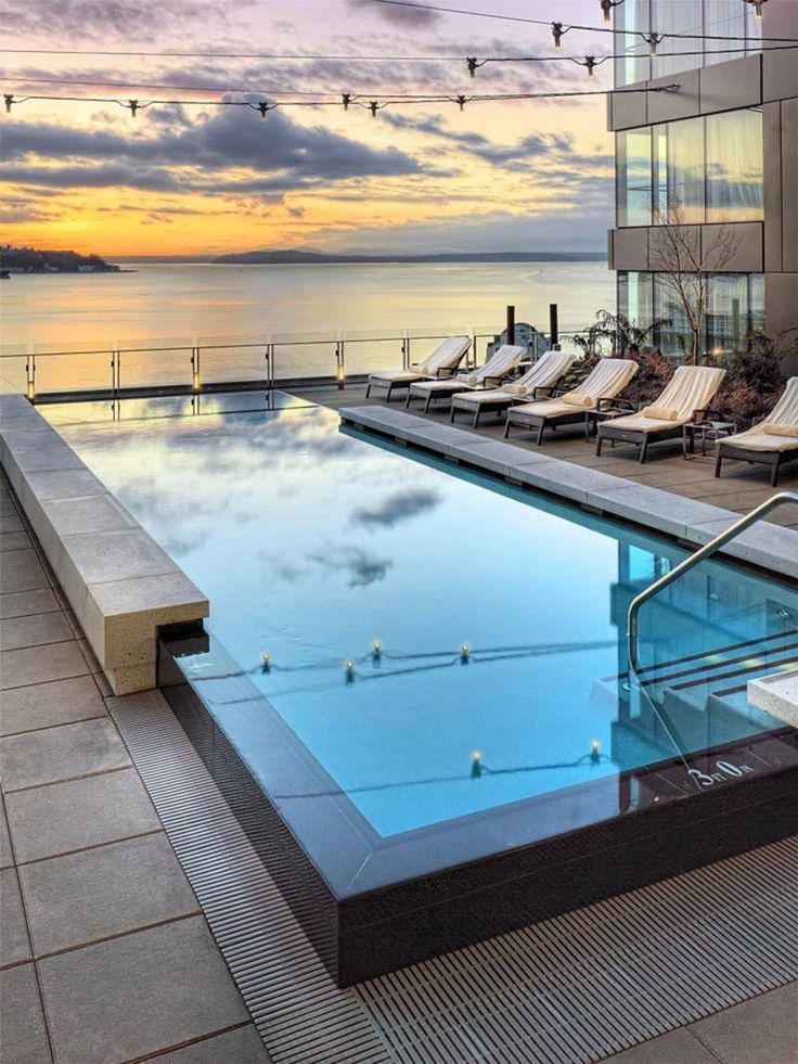 Infinity pool and rooftop views of Elliott Bay from the Four Seasons Seattle