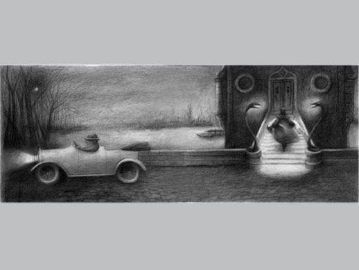 """De la carpeta Black Rose de Ana Juan. """"Sin título 2"""", estampa digital con impresión múltiple. 32,76x86 cm. Papel Somerset enhanced, velvet 100% algodón, 330 gr. 25 ejemplares. Firmada y numerada por la autora."""