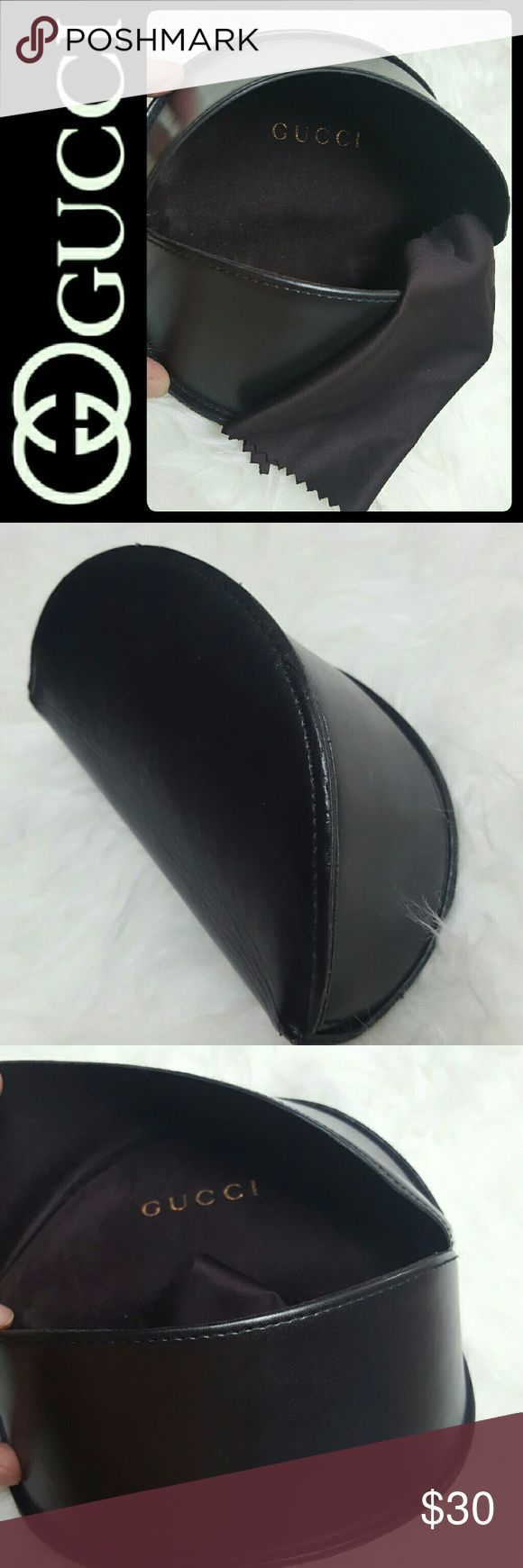 Gucci Designer Sunglasses Case Gucci Designer Brand Sunglasses Case, Soft Leathery Style in Dark Brown to Almost Black Shade! Comes with Original Cleaning Cloth with Gucci Print on It,  Used in Mint Condition Gucci Accessories Sunglasses