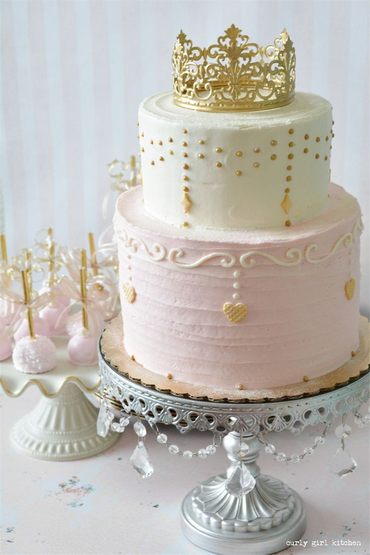 Pink and Gold Princess Party with Princess Cake and Cake Pops