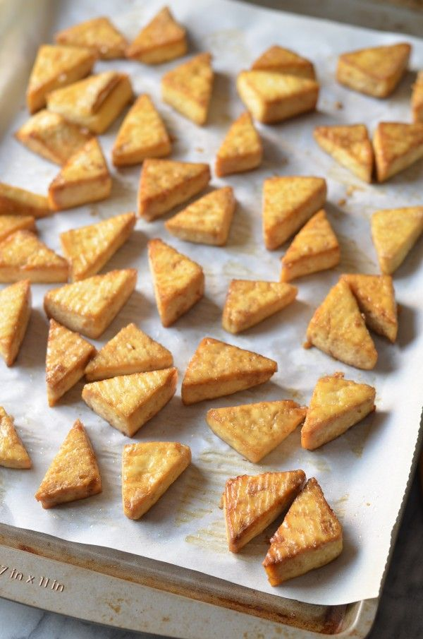 Crispy Baked Tofu Teriyaki Bowl- recipe for getting tofu crisp in oven