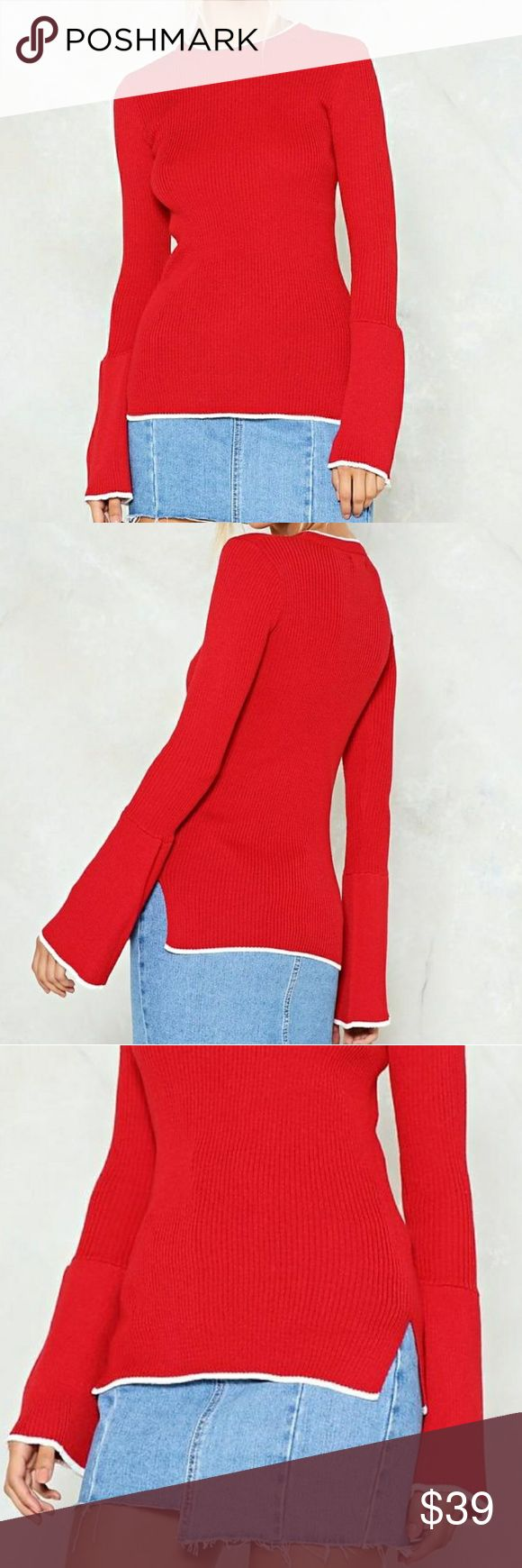SALE! NWT RIBBED BELL SLEEVE TUNIC SWEATER New with tags! Ribbed knit sweater with high boat neckline, contrast white trim, small slit sides, oversized lower half of sleeves. Size 6, would fit small or medium. Gorgeous red. Light to medium weight. Similar to anthropologie, urban outfitters, j.crew, free people, madewell. Reasonable offers welcome! I also send private offers if you bundle ;) SELECT SIZE 6 AT CHECKOUT ONLY ONE ITEM FOR SALE :) Nasty Gal Sweaters
