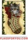 Kitten Stocking Garden Flag