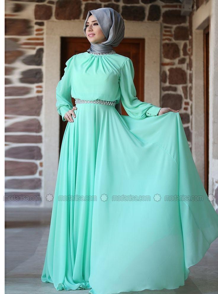 Embroidered Evening Dress - Mint - Zehrace