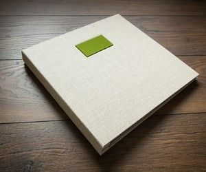 """12""""x12"""" Bespoke hand made wedding album in linen book cloth and green name plaque and inner cover"""
