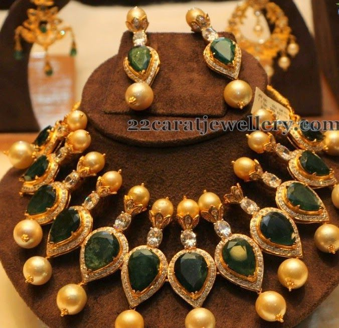 Emeralds Teardrops Necklace  #IndianJewellery #OnlineShopping