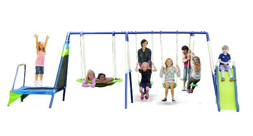 I bought this for my twins on their first birthday. I'm sure that seems young to a lot of people, but after purchasing we bought toddler swing set which attached easily. My kids love to swing in their toddler swings and I put them both in the swinging disc and they love to lay there while I swing them back and forth. In purchasing a swing set I was looking for safety and I wanted it to have a slide, teeter totter and two swings.