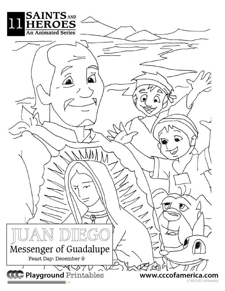 our lady of guadalupe and st juan diego coloring page