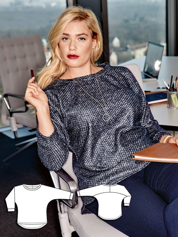 The modest cut of this blouse is perfect for this absorbing glitter jersey…