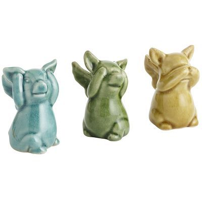 See, Hear, Speak No Evil Pig Set. Love These To Cute!