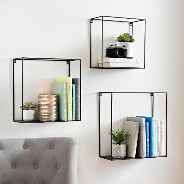 All Metal Open Cube Wall Shelves Set Of 3 I Love This Style Of Shelving Metal Wall Shelves Cube Wall Shelf Wall Shelves