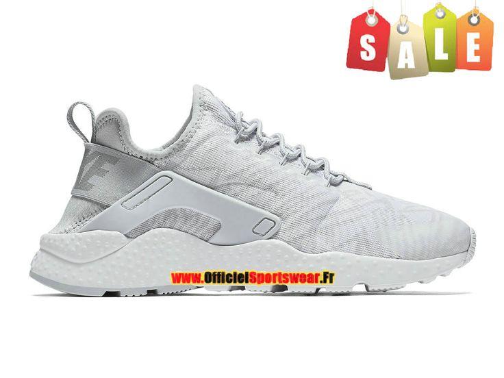 low priced b25a9 2bb92 ... Femme Nike Stealth Air Huarache Ultra Baskets Gris Nike Huarache Ultra  Jacquard - Chaussure Nike Sportswear Pas Cher Pour Homme Blanc Argent  métallique ...