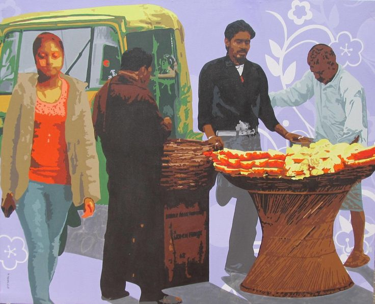 Fruit Seller Print by Amit Nayek. In My painting I try to find out various kind of known faces , some are very desirable to us and others are not so much. But we are all going together with those faces in our city life . The beautiful colors of my town areas are mostly inspired me to search the dramatic vision of those character in a different way.