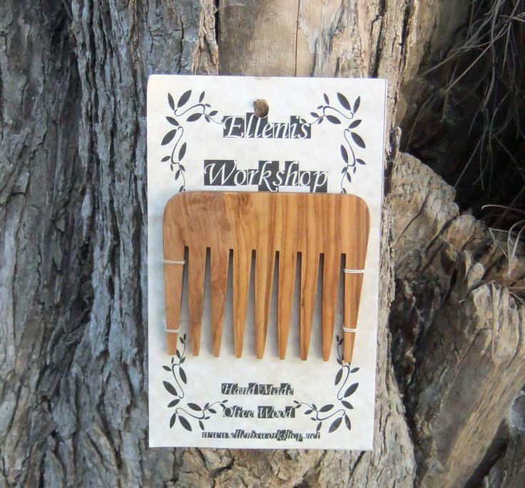 Olive Wood hair comb by ellenisworkshop on Etsy