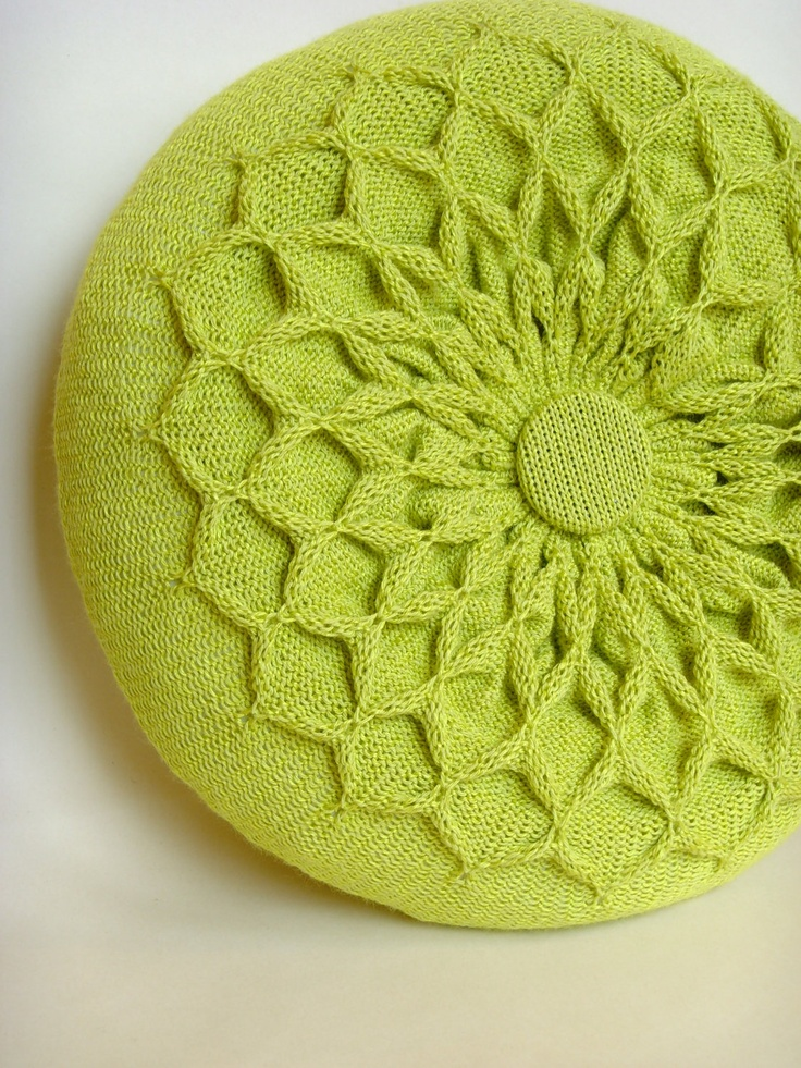 Green Pillow. Knitted Circular Waffle Cushion. Chartreuse Green Pillow Hand P...